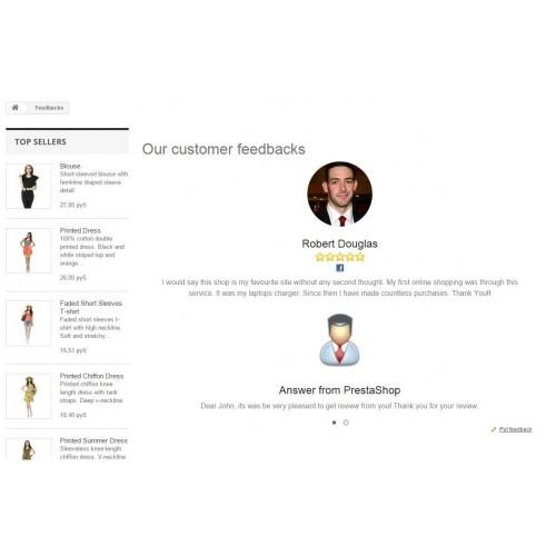 Модуль социально значимых отзывов о магазине