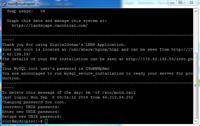Новый пароль MySQL Digital Oceal